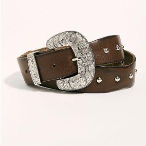 Free People Embellished Studded Leather Belt